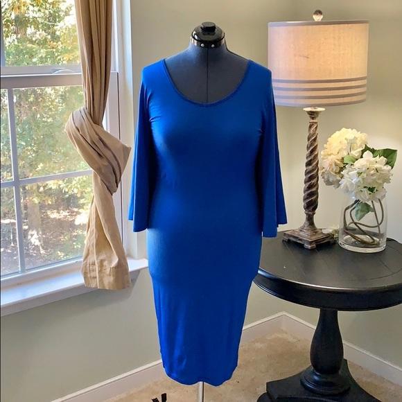 Dresses & Skirts - Royal Blue Cape Bodycon Dress Size 1X
